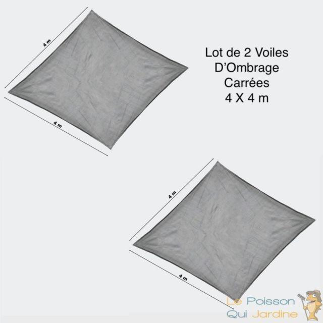 Lot De 2 Voiles D Ombrage Carree 4x4 Grise Pour Balcons Terrasses