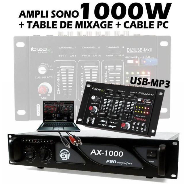 Ibiza Sound Pack Sono Comprenant 1 Table De Mixage Usb 1 Ampli