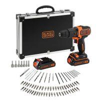 Bdchd18BAFC Perceuse-visseuse/ à percussion sans fil avec chargeur, 2 batteries de 1.5Ah et 80 accessoires