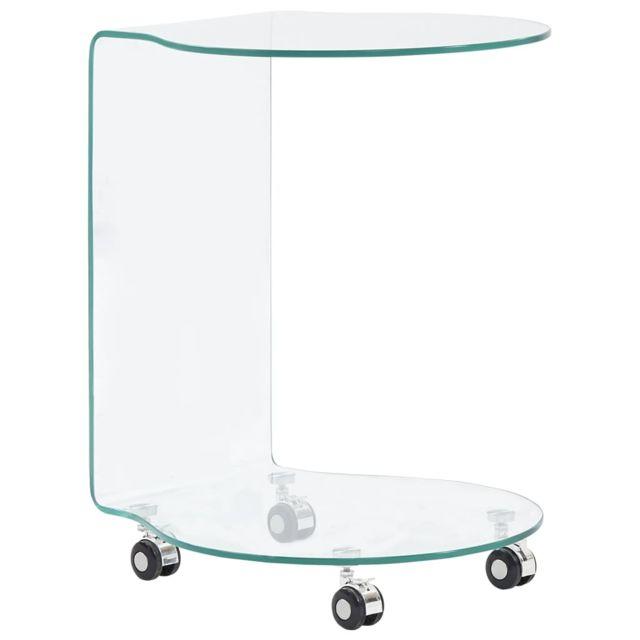 Vidaxl Table Basse 45x40x58 cm Verre Trempé Table d'Appoint Salon Canapé