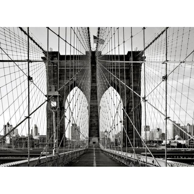 Bebe Gavroche Papier Peint New York Brooklyn Bridge Front Noir Blanc 160x115 cm