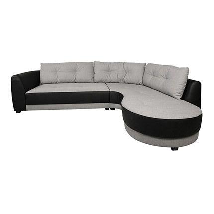 Canapé d'angle à droite en tissu noir et gris - Nathan