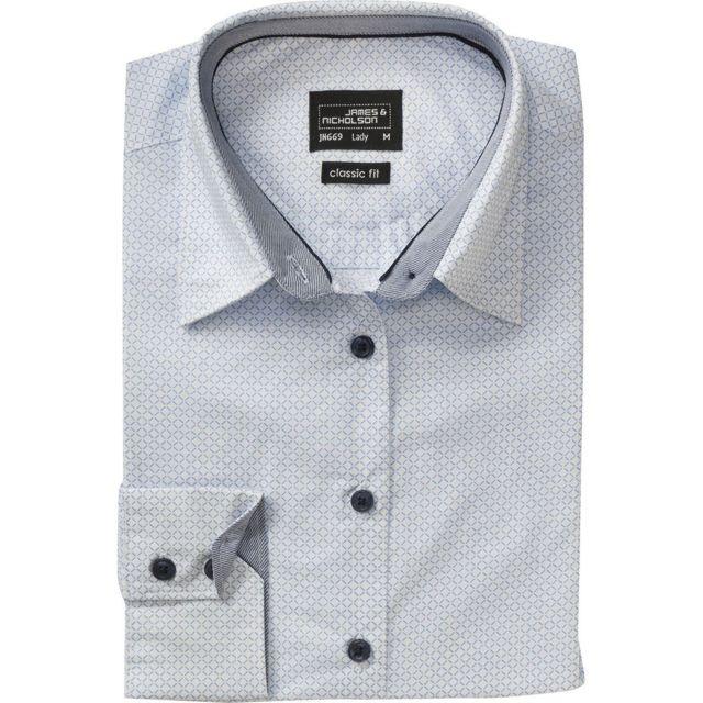 James & Nicholson chemisier manches longues - Jn669 - Femme - blanc - bleu clair - motifs fins