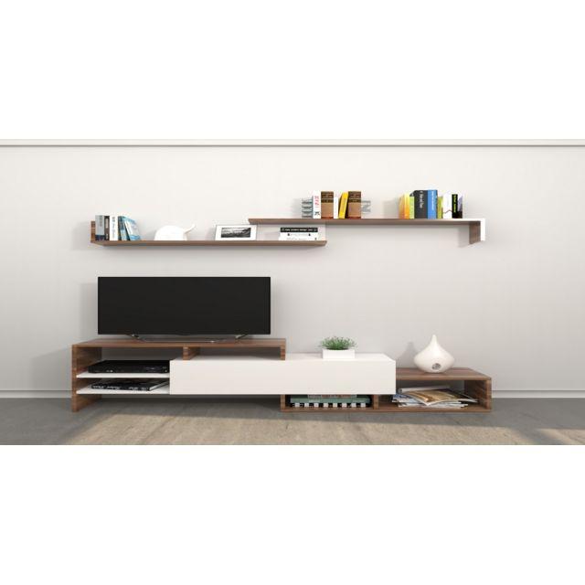 Homemania Meuble Tv Fenice - avec Étagères, Compartiments - pour Salon - Blanc en Bois, 150 x 27 x 45 cm