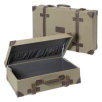 Marque Generique - Lot de 2 valises déco vintage fermeture à sangles facon cuir coloris kaki clair 2 tailles