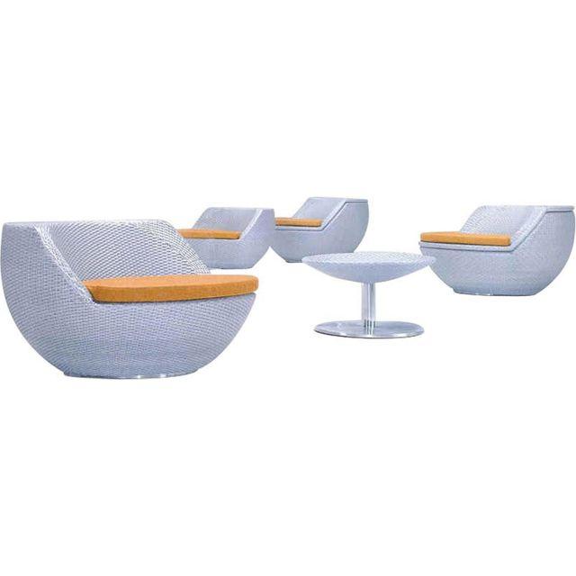 AUBRY GASPARD - Salon boule empilable avec coussins Blanc - 4 - pas ...