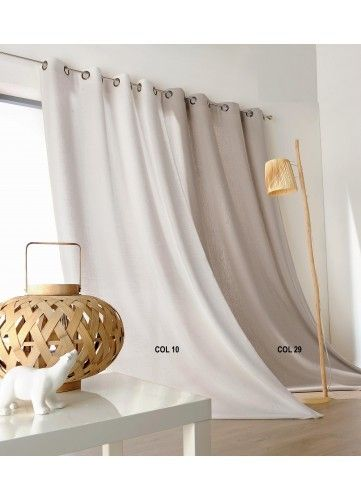 soldes homemaison rideau uni campagne chic 100 lin pas cher achat vente rideaux. Black Bedroom Furniture Sets. Home Design Ideas