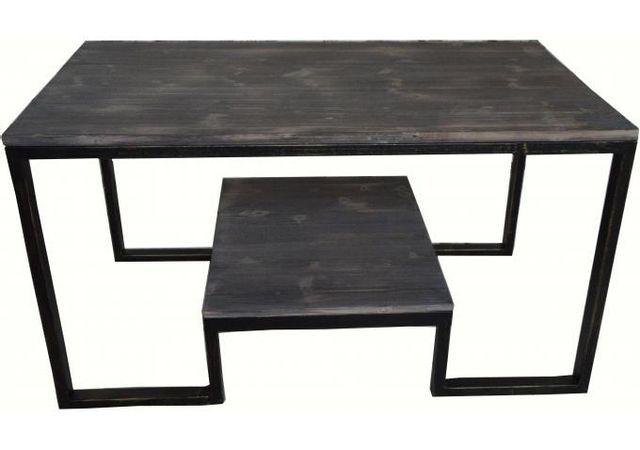 Declikdeco Table basse double plateau en métal et bois Aryan