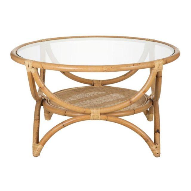 Tousmesmeubles Table basse ronde Rotin/Verre - Asila
