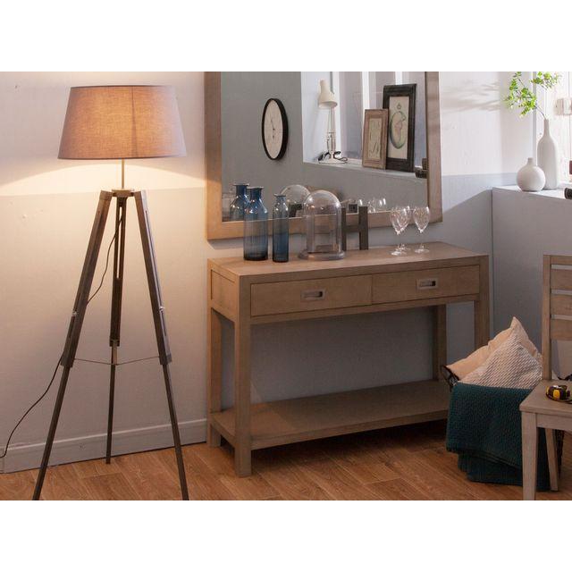 corep lampadaire tr pied en bois avec abat jour gris. Black Bedroom Furniture Sets. Home Design Ideas