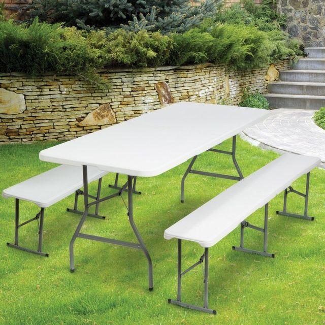 idmarket table pliante portable 180 cm et 2 bancs pliables pour camping buffet pas cher. Black Bedroom Furniture Sets. Home Design Ideas
