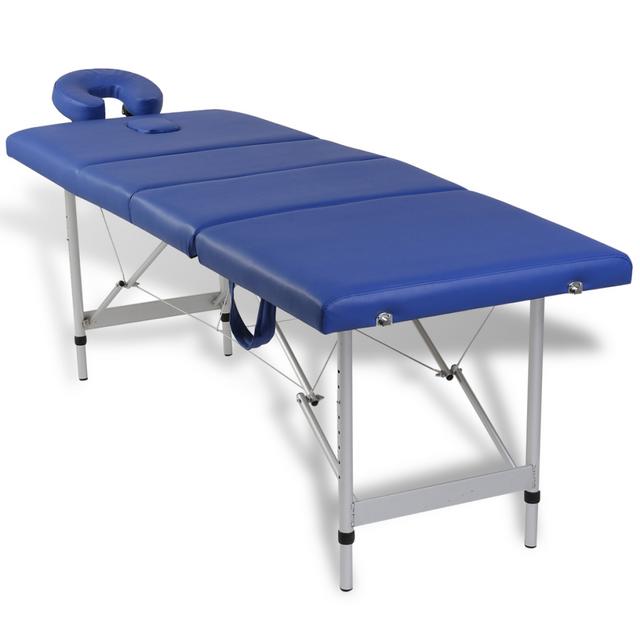 vidaxl table de massage pliante 4 zones bleu cadre en aluminium pas cher achat vente. Black Bedroom Furniture Sets. Home Design Ideas
