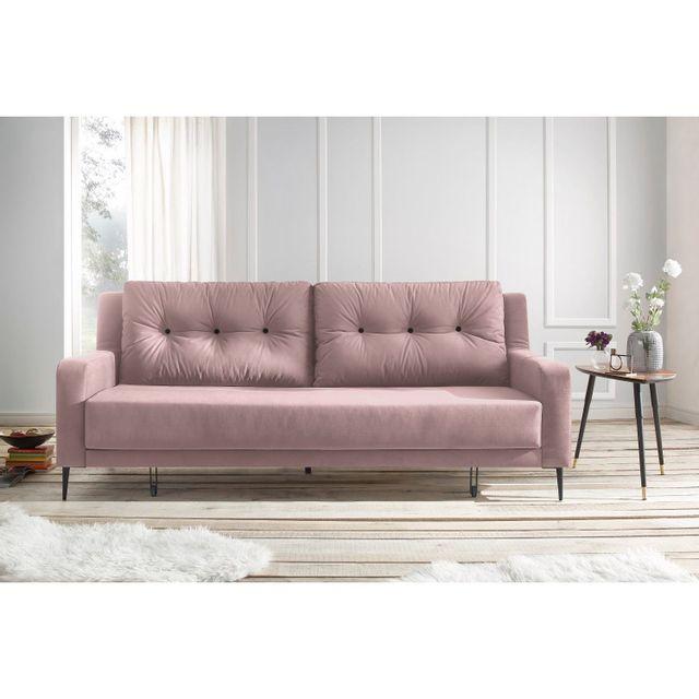 BOBOCHIC - Canapé BERGEN - 3 places - Convertible - Rose Poudré - 222cm x 90cm x 92cm
