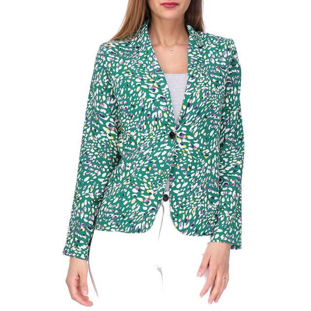 REVD ELLE Revdelle - Blazer Boutonner Made In France Manches Longues Femme Veste Venise Taille - Xl, Couleur - Vert