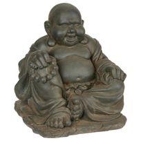 Paris Prix - Statue Bouddha Gm en Pierre 36cm Gris