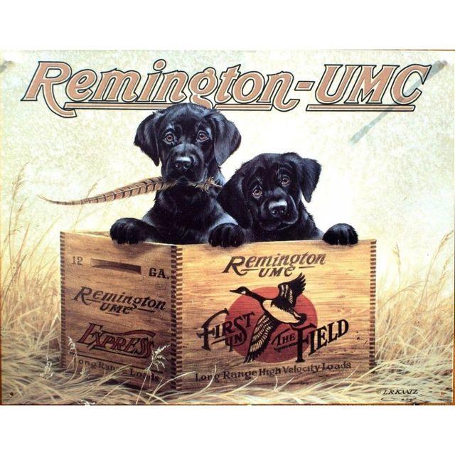 Universel Plaque chien dans une caisse de remington tole pub chasse
