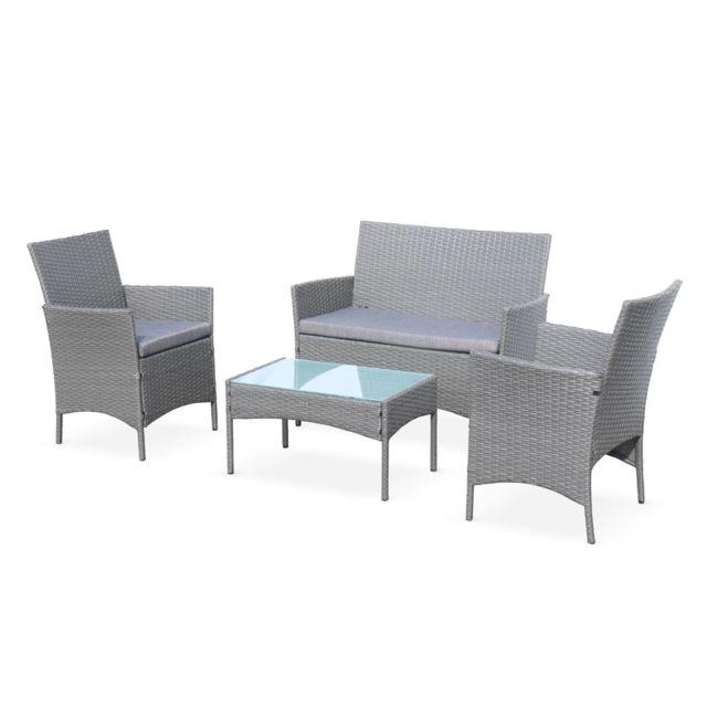 ALICE'S GARDEN Salon de jardin en résine tressée - Moltès - Gris, Coussins gris - 4 places - 1 canapé, 2 fauteuils, une table basse