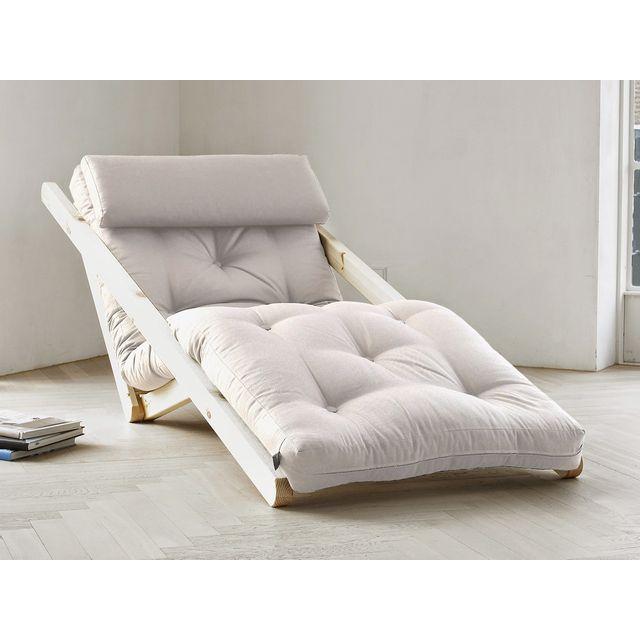 karup fauteuil chaise longue en bois naturel avec matelas futon figo pas cher achat vente. Black Bedroom Furniture Sets. Home Design Ideas