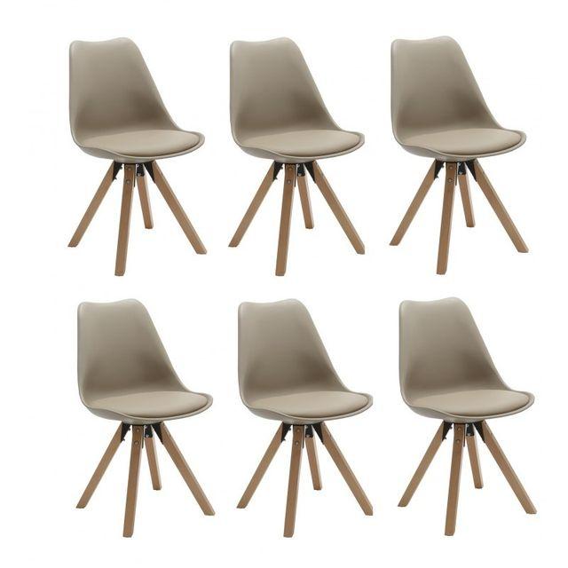 Autre Set de 6 chaises de salle à manger design simili-cuir marron clair pieds bois Cds09225