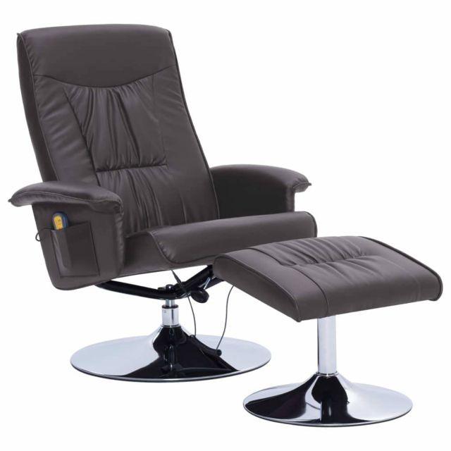 Helloshop26 Fauteuil de massage confort relaxant massant détente avec repose-pieds gris similicuir 1702052