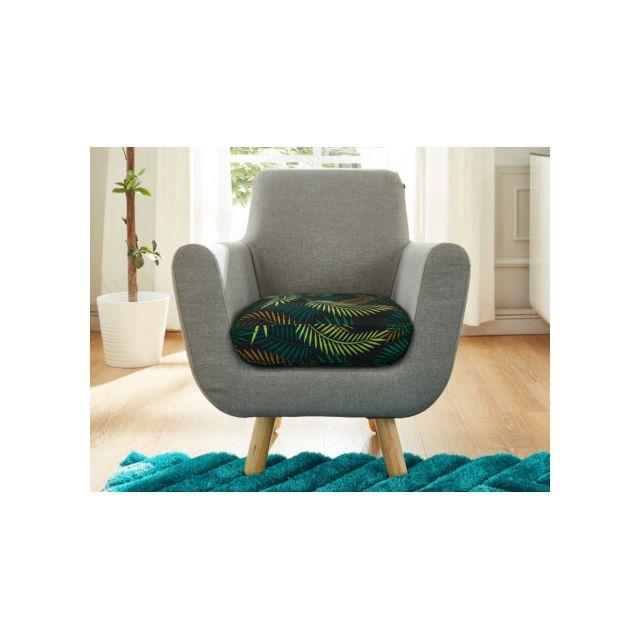 MARQUE GENERIQUE Fauteuil en tissu TRAVIATA - Gris assise imprimée tropical