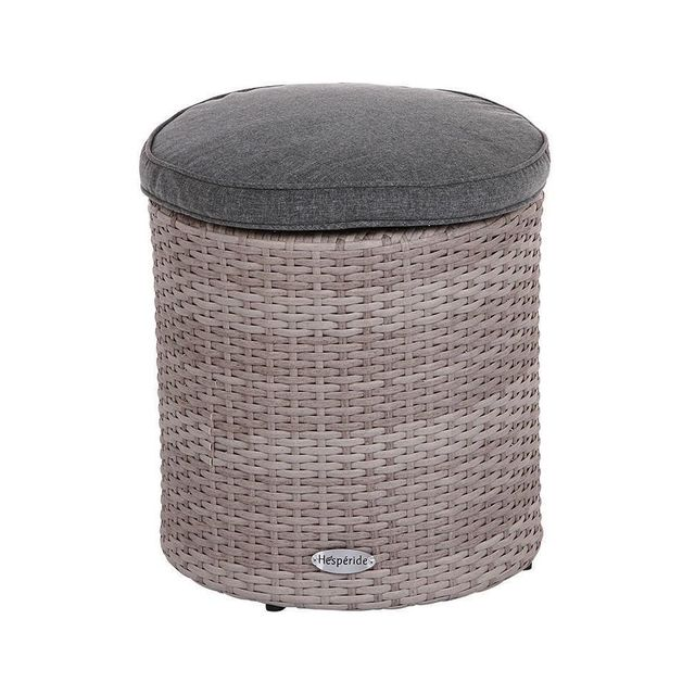 hesp ride pouf d 39 ext rieur en r sine synth tique rhodes gr ge pas cher achat vente pouf d. Black Bedroom Furniture Sets. Home Design Ideas