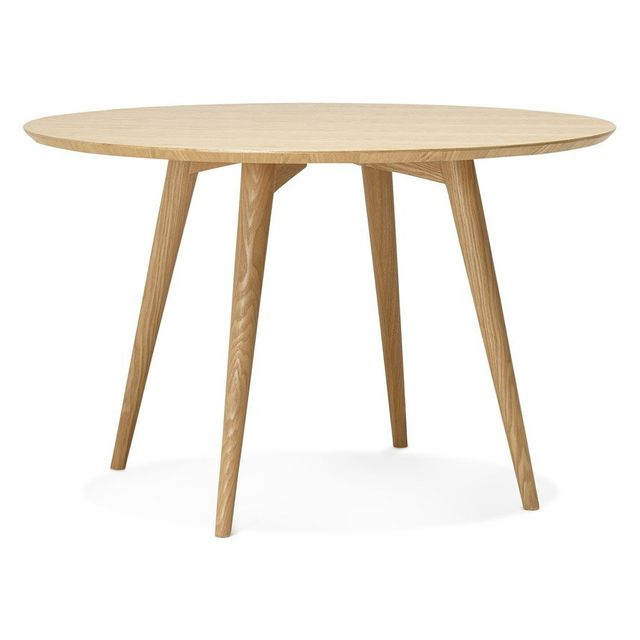 Alterego Table à dîner ronde 'SWEDY' en bois style scandinave - � 120 cm