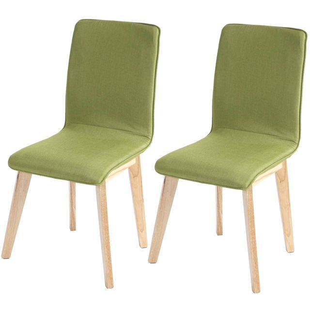 Mendler 2x chaise de salle à manger Zadar, fauteuil, design rétro des années 50, tissu ~ vert avec couture