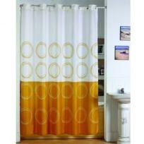 Msv - Rideau douche 180 x 200 polyester anneaux integres jaune et blanc