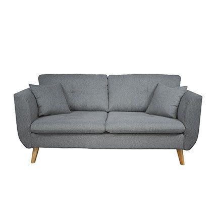 Canapé 2 places fixe gris en tissu gris clair - Galton