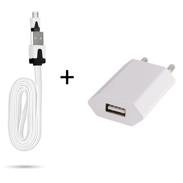 wholesale online coupon code fast delivery Cable Noodle 1m Chargeur + Prise Secteur pour Huawei P9 Lite Smartphone  Micro-USB Murale Pack Universel Android BLANC