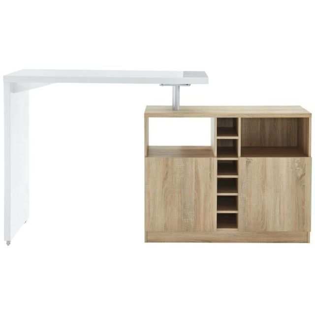 MANGE-DEBOUT - TABLE DE BAR - TABLE HAUTE POLY Table bar style contemporain blanc laqué brillant et décor chene - L 126