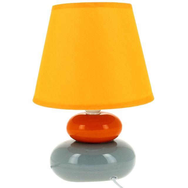 Promobo Lampe Design Zen Forme Galets En Ceramique Orange Pas