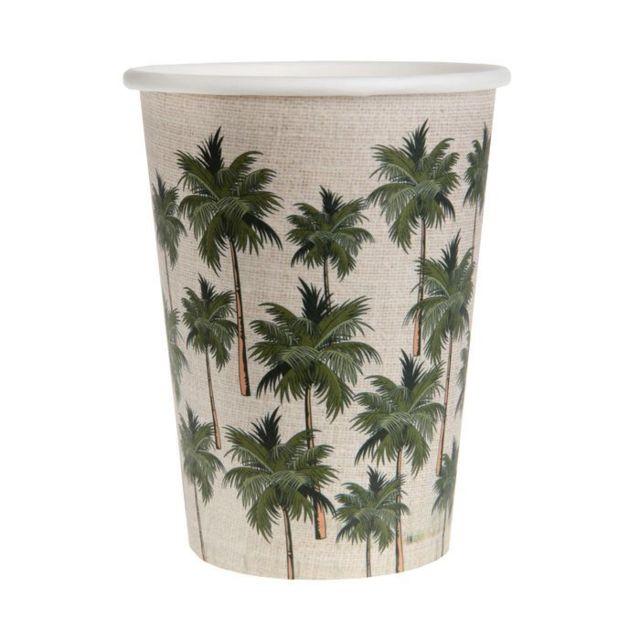 1001DECOTABLE - 20 gobelets en carton Jungle Tropicale Vert