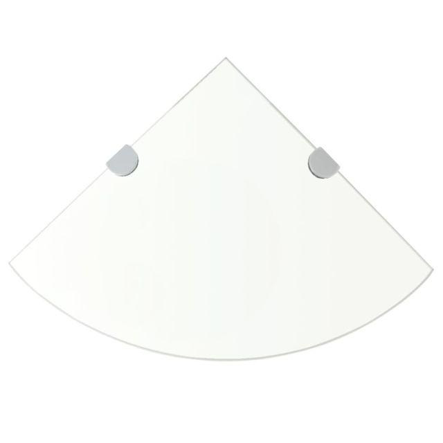 Uco Étagères d'angle 2 pcs et supports Verre Transparent 25x25 cm