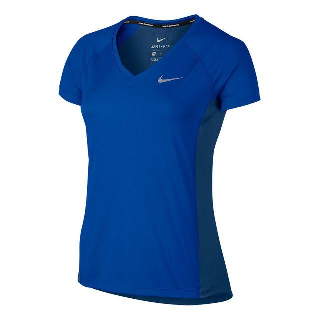04c7f1d02e61 Nike - T-shirt Dry Miler manches courtes bleu femme - pas cher Achat ...
