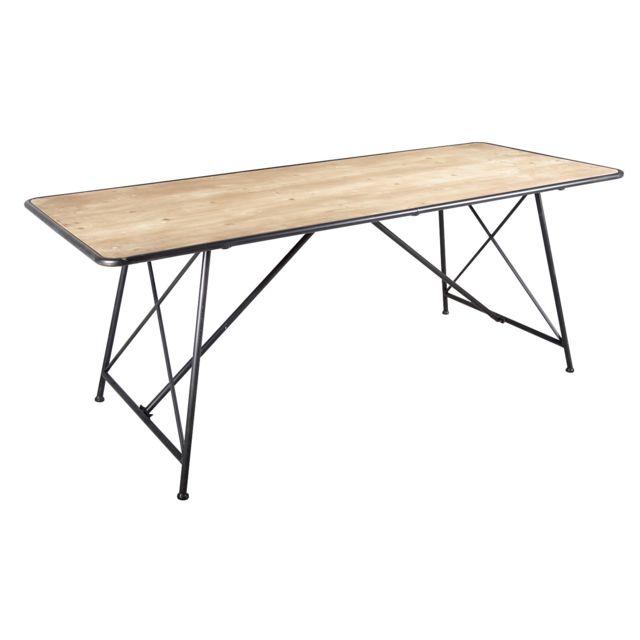 AUBRY GASPARD Table en métal et pin