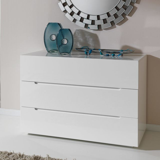Nouvomeuble Commode adulte design blanc laqué Emira