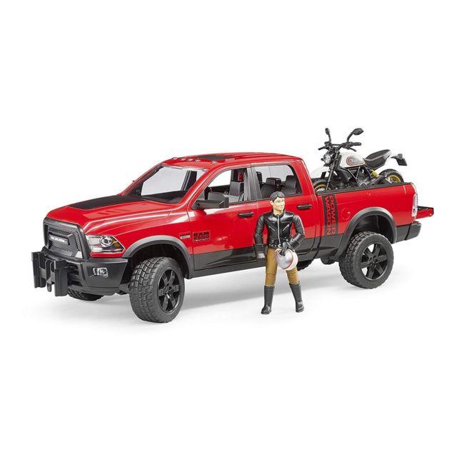 Bruder 02502 Ram 2500 Power Wagon avec Ducati Desert Sled - Voiture, moto et figurine