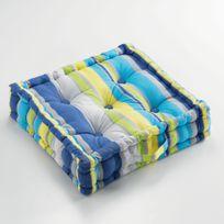 Le Jardin Des Cigales - Cdaffaires Coussin de sol 60 x 60 x 10 cm coton imprime marina Bleu