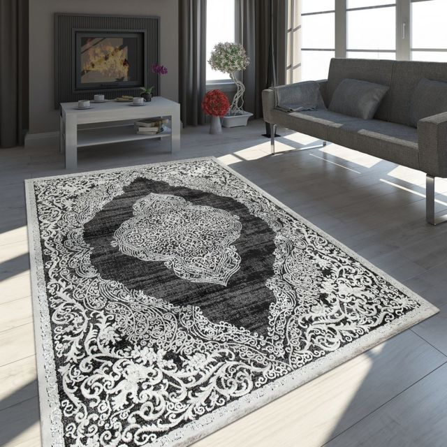 Tapis Oriental Moderne Effet 3D Motif Marocain Noir Blanc