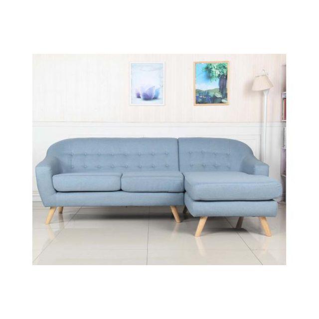Declikdeco Ce Canapé D'Angle Scandinave Tissu Bleu Clair Carry, prônant partage et convivialité, sera la pièce maîtresse de votre s