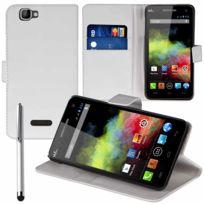 Vcomp - Housse Coque Etui portefeuille Support Video Livre rabat cuir Pu pour Wiko Rainbow 4G + stylet - Blanc