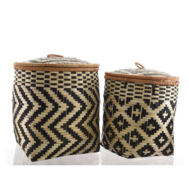 Decoris - Panier de rangement en bambou avec couvercle à motif noir et naturel - Set de 2 Etnik
