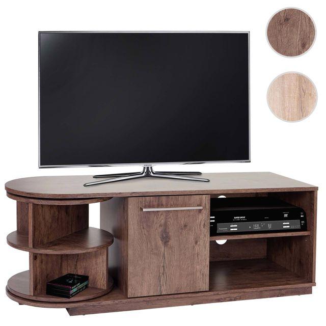 Mendler Table basse Tv Arau, rack Tv, table de télévison avec élément rotatif, 120x45x40cm ~ aspect chêne foncé