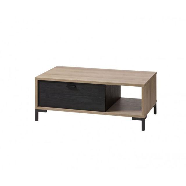 Meubletmoi Table basse rectangulaire en bois noir et beige - Ariana