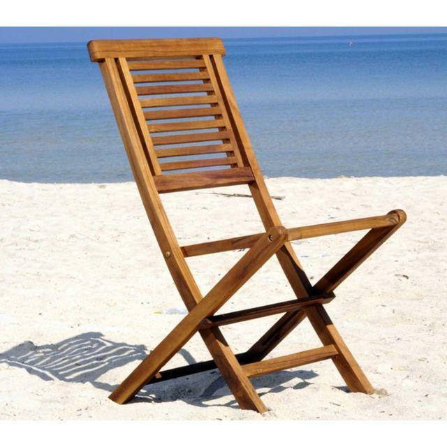 WOOD EN STOCK chaise de jardin en teck huile - chaise pliante