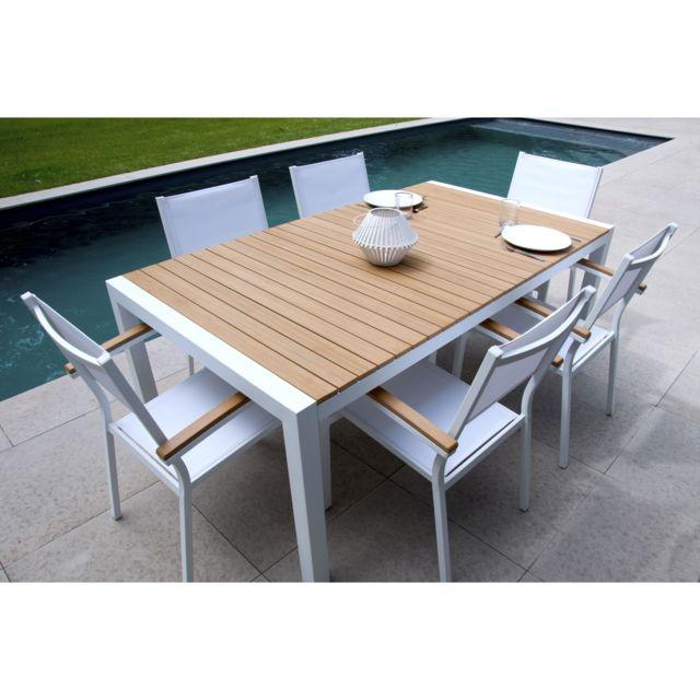 Squareline - Salon de jardin 6 places Aluminium Composite ...