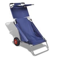 Vidaxl - Chariot de plage, chaise, table, 3 en 1, bleu
