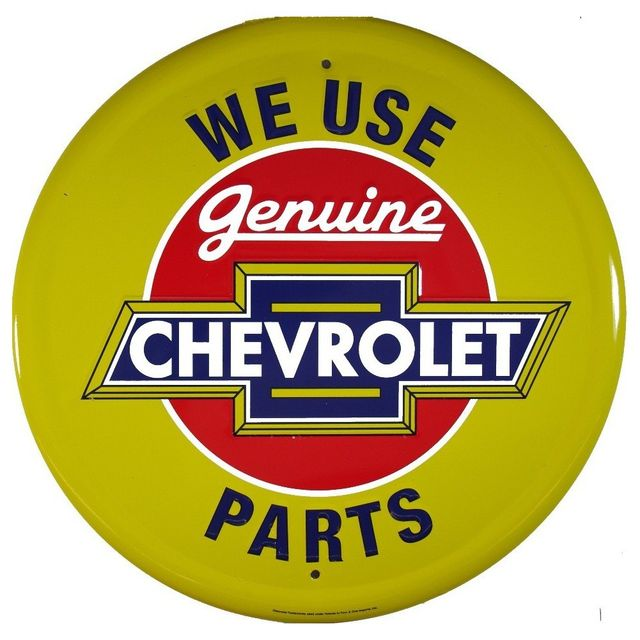 Universel Plaque chevrolet parts jaune deco garage tole publicitaire